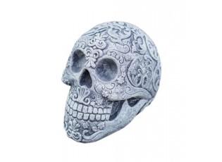 Zahradní betonová dekorace lebka s ornamenty - 9*14*11 cm