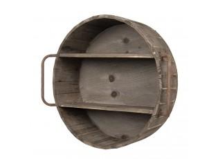 Dřevěná kulatá nástěnná závěsná police Jodie - 63*20*57 cm