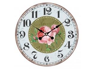 Vintage hodiny na stěnu s růžemi – Ø 34*1 cm / 1*AA