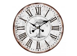 Vintage hodiny s římskými číslicemi s plameňákem – Ø 34*1 cm / 1*AA