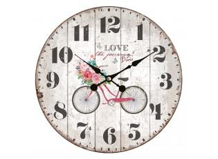 Vintage nástěnné hodiny Love Paris – Ø 34*4 cm / 1*AA