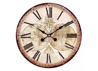 Vintage nástěnné hodiny s římskými číslicemi The World – Ø 34*1 cm / 1*AA