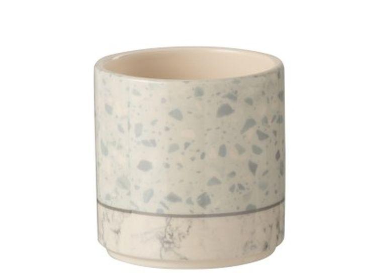 Levně J-Line by Jolipa Šedo-modrý keramický obal na květináč Terazzo - Ø10*10 cm