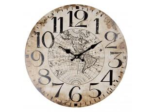 Nástěnné hodiny s patinou The World – Ø 34*1 cm / 1*AA