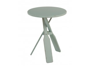 Modrý dřevěný odkládací stolek s pádly Paddles - Ø 45*56cm
