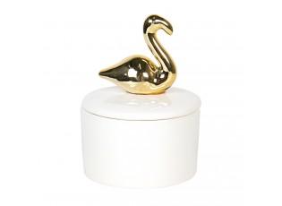 Bílá keramická šperkovnice se zlatou labutí - 7 cm