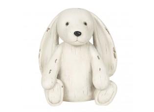 Bílá antik dekorace pes  - 14*12*16 cm