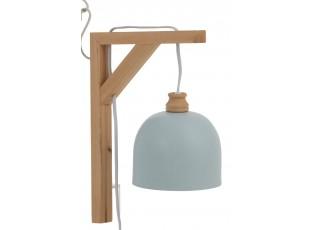 Modré nástěnné kovové světlo na dřevěném držáku Denis - 20*14*30 cm