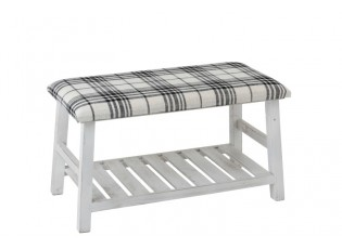 Bílá dřevěná lavice textilním sedákem Matte - 80*40*44cm