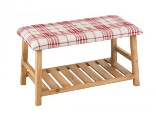 Přírodní dřevěná lavice s textilním sedákem Matte - 80*40*46cm