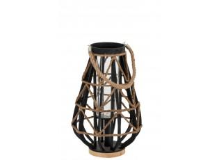 Černá bambusová lucerna Bamboo - Ø 32*48 cm