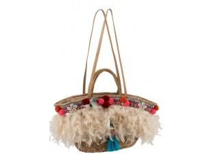 Boho plážová taška/košík s peříčky a bambulkami - 51*18*30cm