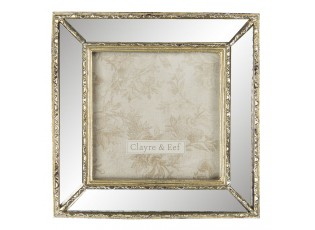 Zlatý foto rámeček se zrcadlovým okrajem - 15*2*15 cm / 10*10 cm