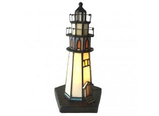 Vitrážová stolní lampa Tiffany v designu majáku Phare – Ø 12*28 cm E14/max 1*25W