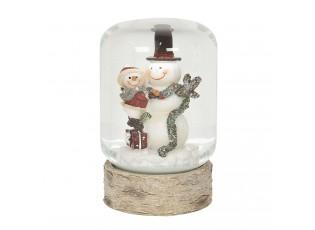 Sněžítko se sněhuláčky s podstavcem v imitaci dřeva – Ø 6*10 cm
