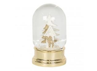 Zlaté sněžítko s vánočním stromem a sobem – Ø 6*10 cm