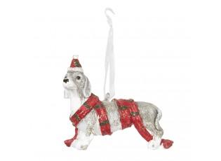 Závěsná dekorace pes s čepičkou - 7*4*6 cm