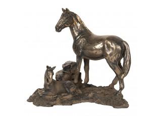 Zlato-hnědá dekorace kůň s hříbětem - 19*13*15 cm