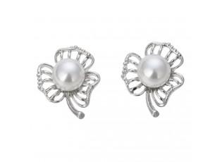 Stříbrné náušnice trojlístek s perličkami