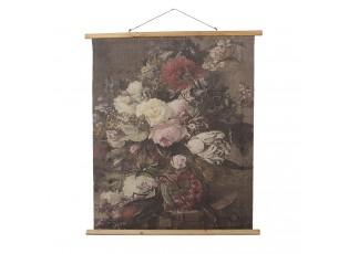 Nástěnná vintage mapa s květy - 80*2*100 cm
