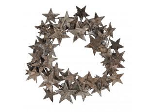 Dřevěný dekorační věnec z hvězdiček - Ø 33*4 cm