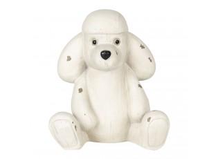 Bílá antik dekorace pes pudlík - 14*12*16 cm