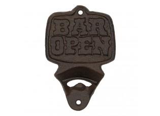 Nástěnný hnědo černý litinový otvírák Open here - 9*2*13 cm