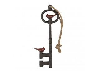 Závěsná ozdoba dekorativní kovový klíč s ptáčkem - 13*2*33 cm
