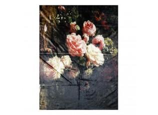 Černý plyšový pléd /přehoz s květy Vintage I - 130*170 cm