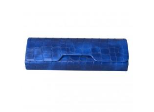 Modré pouzdro na brýle s imitací hadí kůže - 16*7 cm