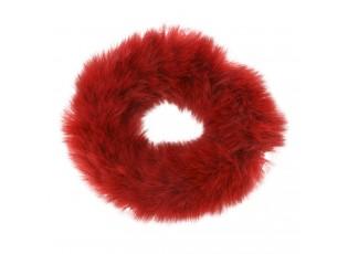 Červená chlupatá gumička do vlasů - Ø7cm