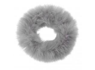 Šedá chlupatá gumička do vlasů - Ø7cm