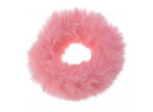 Růžová chlupatá gumička do vlasů - Ø7cm