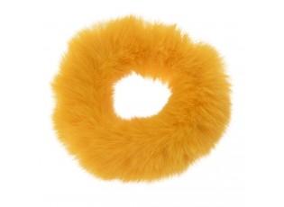 Žlutá chlupatá gumička do vlasů - Ø7cm