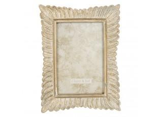 Zlatý vintage fotorámeček s patinou a listy - 16*2*21 cm / 10*15 cm