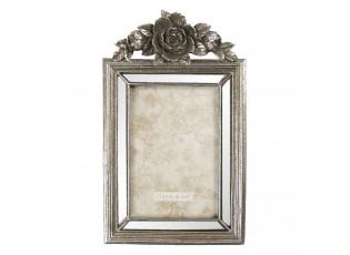 Antik stříbrný fotorámeček s dekorací květiny - 15*3*25 cm / 10*15 cm