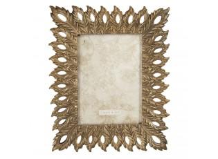 Zlatý zdobený fotorámeček Plumes - 22*2*26 cm / 13*18 cm