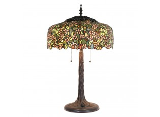 Stolní vitrážová lampa Tiffany Prairie – Ø 46 cm E27/max 3*60W