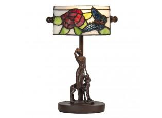 Stolní vitrážová lampa Tiffany s dámou se psem - 17*15*28 cm E14/max 1*25W