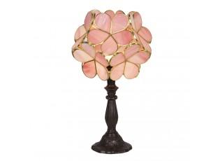 Růžová stolní lampa Tiffany Bloom - 21*21*38 cm E14/max 1*25W