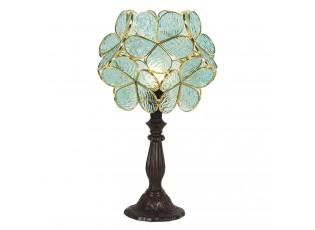 Modrá stolní lampa Tiffany Bloom - 21*21*38 cm
