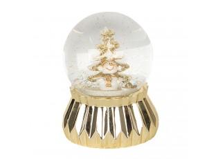 Zlaté sněžítko se sněhulákem a stromkem - Ø 7*9 cm