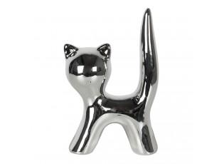 Stříbrná dekorativní soška Kočka - 5*7 cm