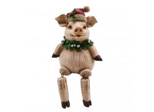 Dekorace sedící vánoční prase - 8*7*10 cm