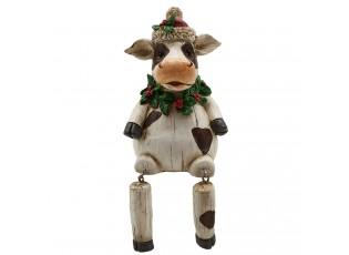 Dekorace sedící vánoční kráva - 7*7*10 cm