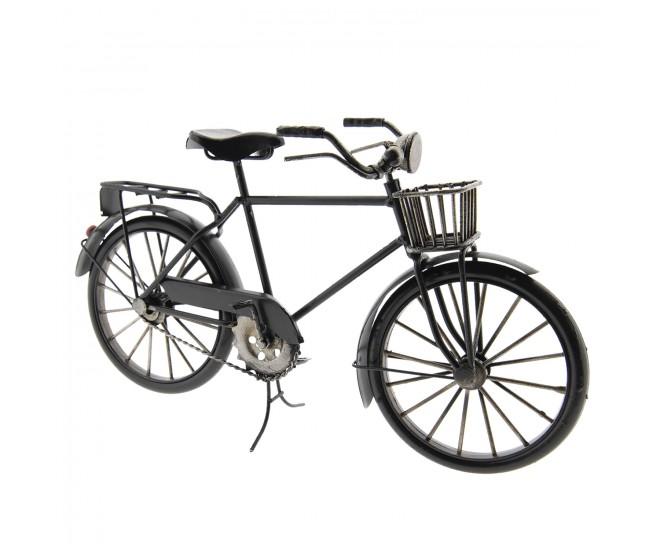 Velký kovový model retro kola v černé barvě s košíkem - 29*10*16 cm