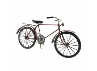 Kovový model retro kola v tmavě cihlové barvě - 29*10*16 cm