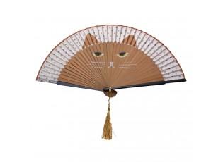 Hnědý vějíř s motivem kočky - 20 cm