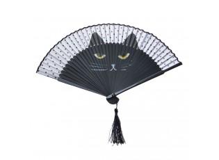 Černý vějíř s motivem kočky - 20 cm
