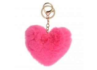 Přívěsek na klíče chlupaté fuchsiové srdce